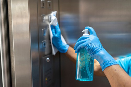 Office lift sanitizing